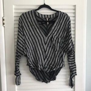 FP stripped blouse w/ sleeve ties